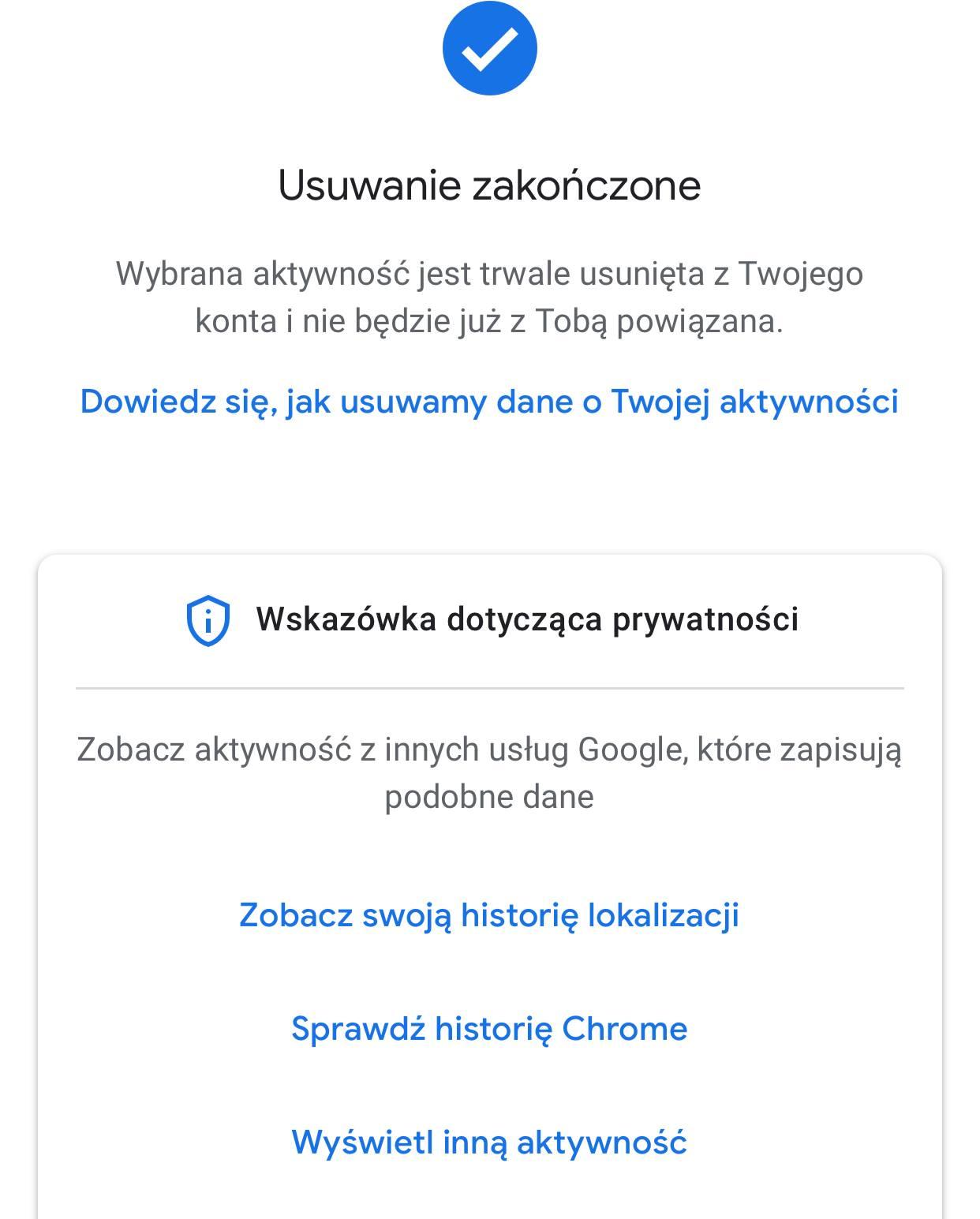 Usuwanie historii wyszukiwania zakończone - android