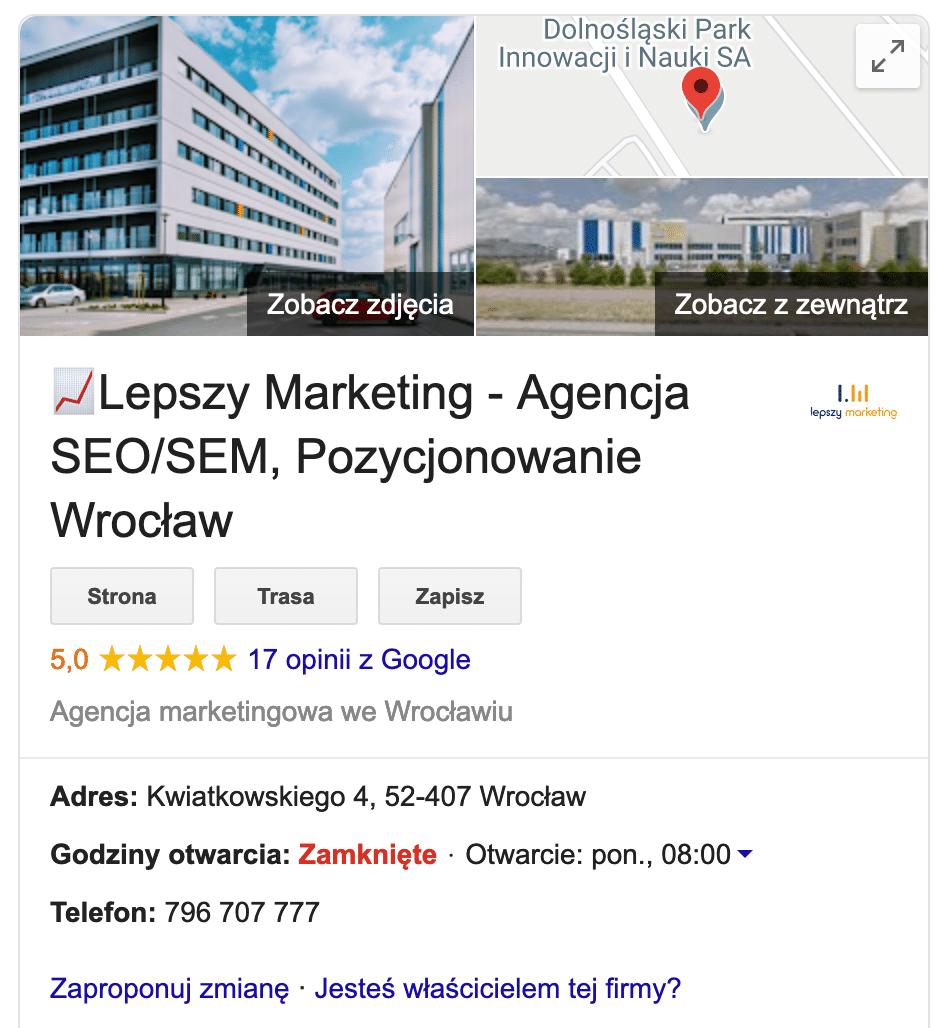 Jak wypozycjonować stronę www - wizytówka google