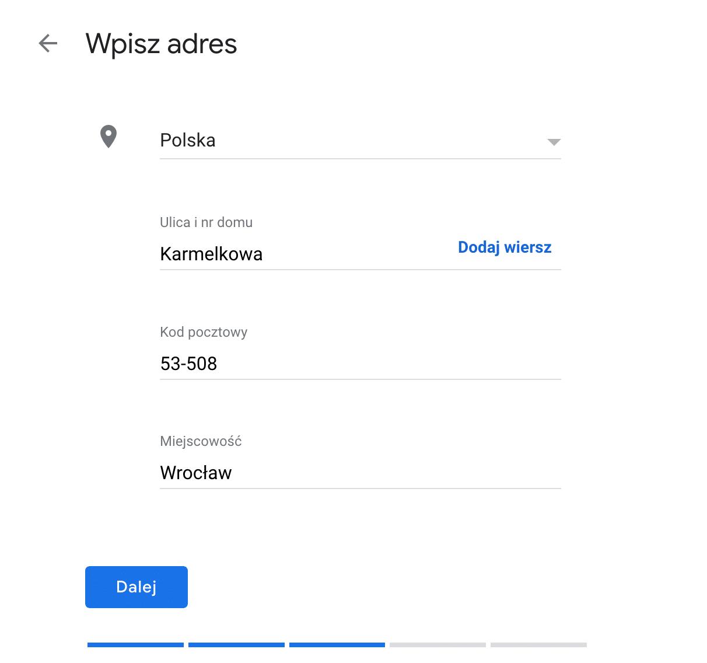 Jak dodać firmę do google maps - dodawanie danych adresowych