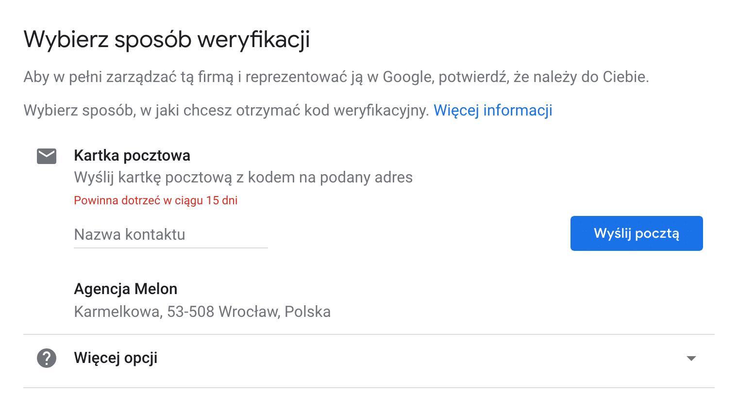 jak dodać firmę do google maps - weryfikacja pocztowa