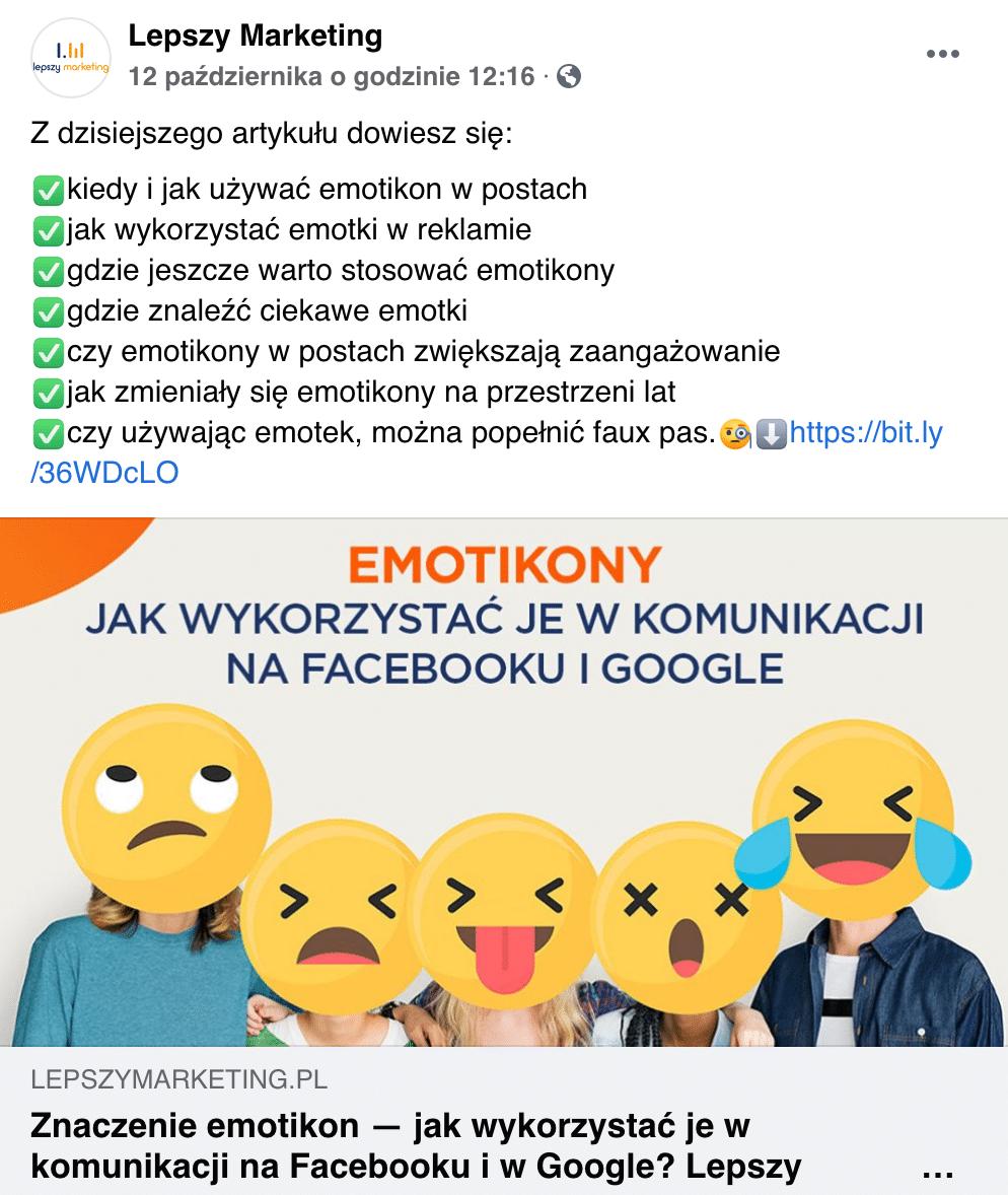 post na fb jak użyć emotikon