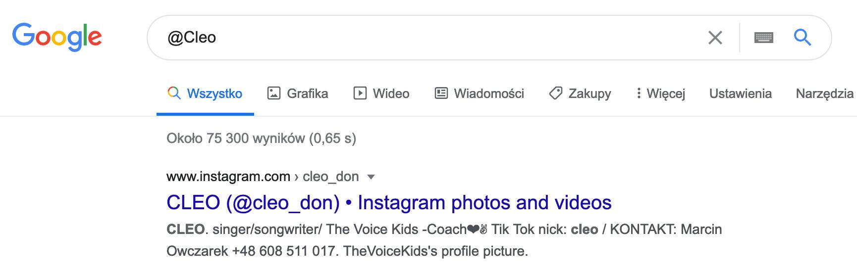 Szukanie na stronie Google profilu Cleo