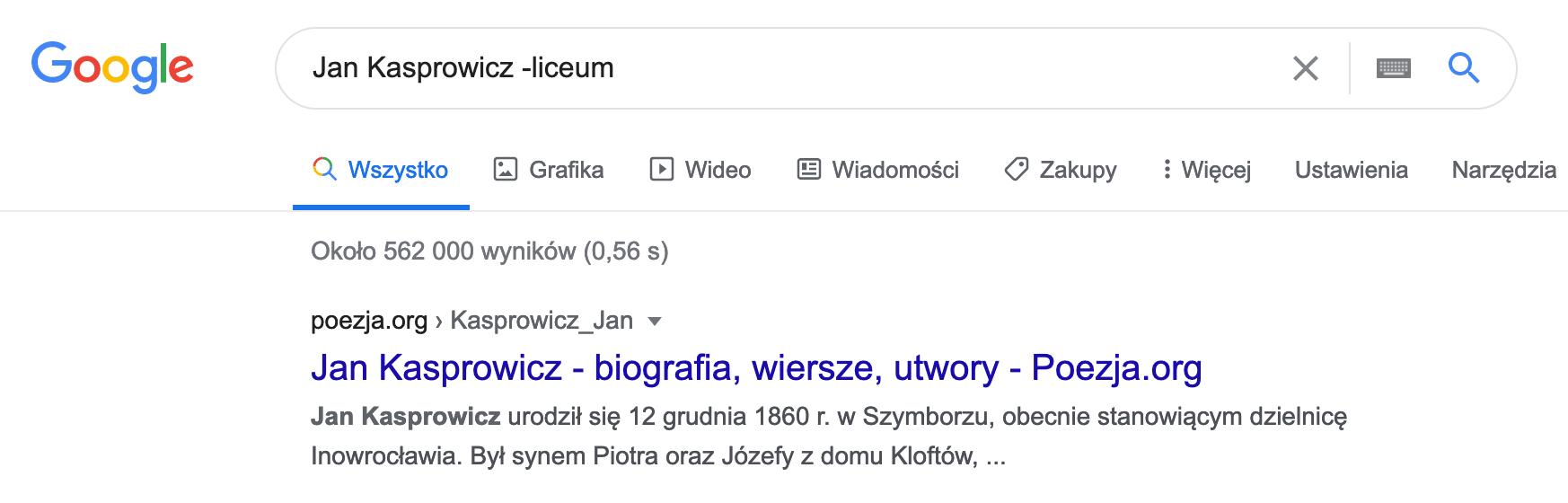 Wyszukiwanie w google - wykluczenia