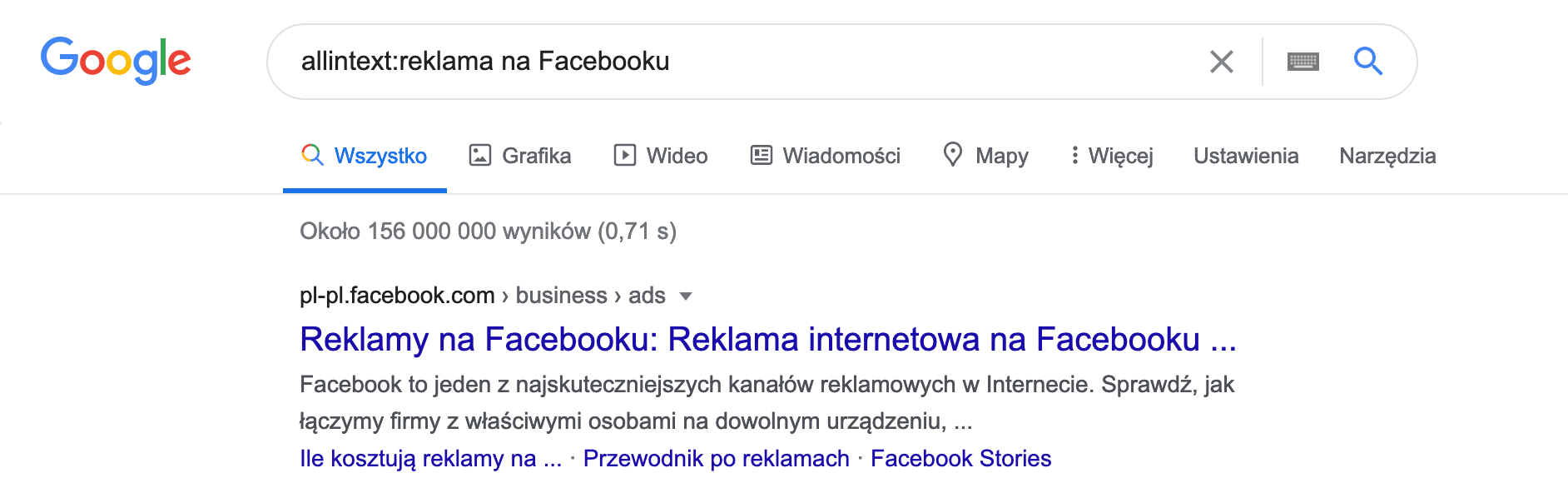 jak wyszukiwać w google - allintext: