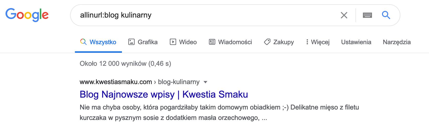 Wyszukiwanie w google adresu url