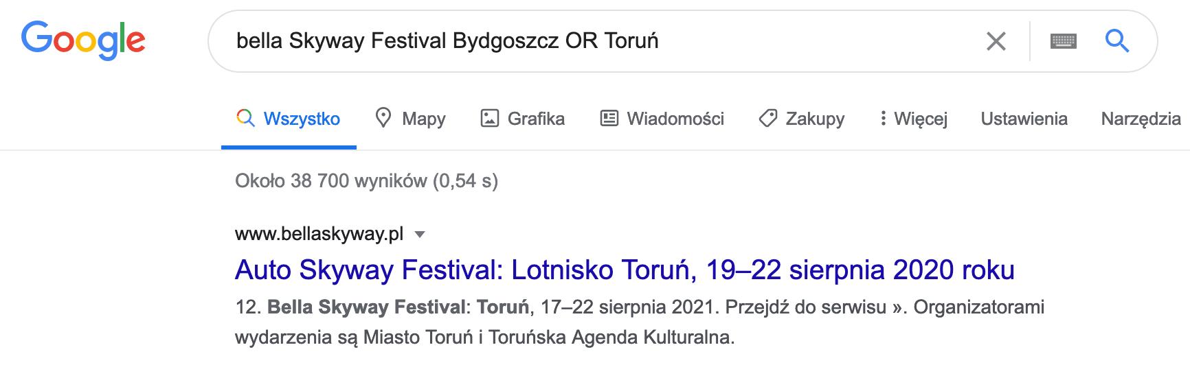 Wyszukiwanie w google wydarzenia
