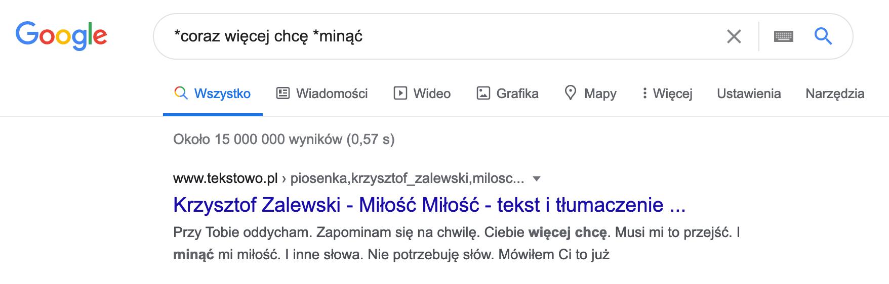 Wyszukiwanie w google z frazami synonimicznymi