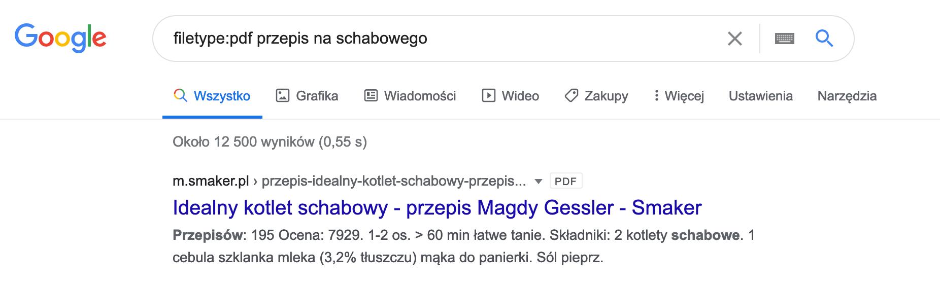 wyszukiwanie w google przepisu na schabowego w pdf