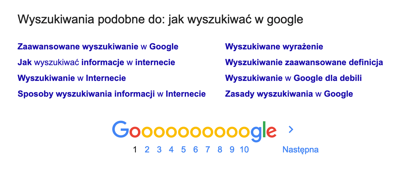 jak wyszukiwać w google - podobne wyszukiwania