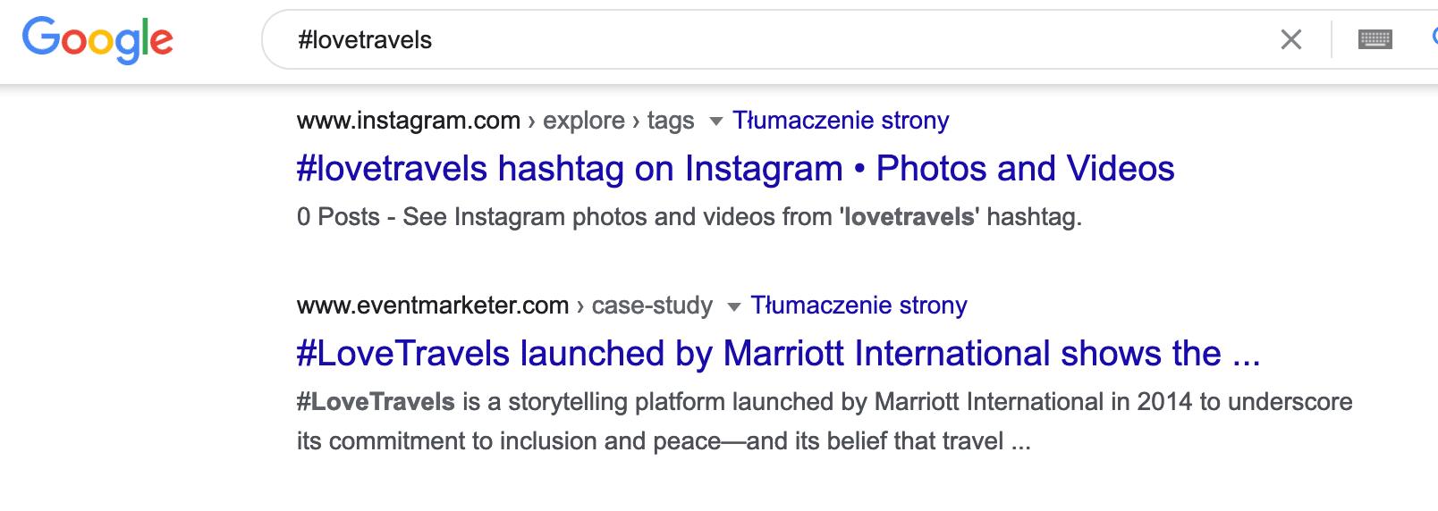 Szukaj w internecie po hasztagach