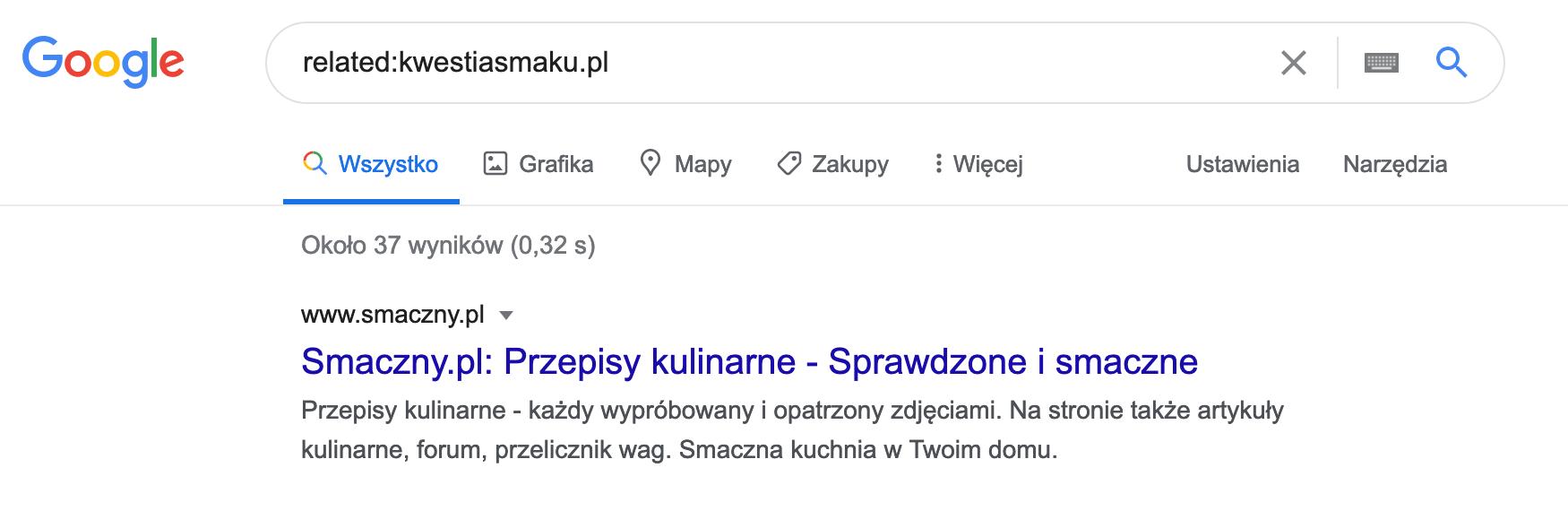 Wyszukiwanie w google podobnych stron jak kwestiasmaku.pl