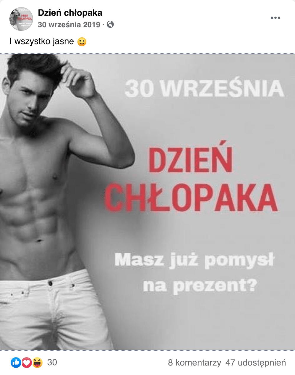 Post Na Fb - Dzień Chłopaka