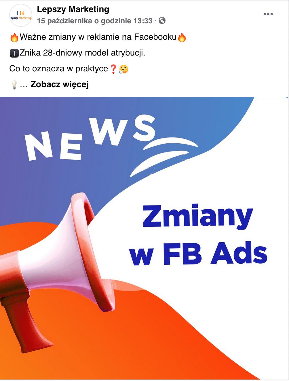 Post na fb - Zmiany w Fb Ads
